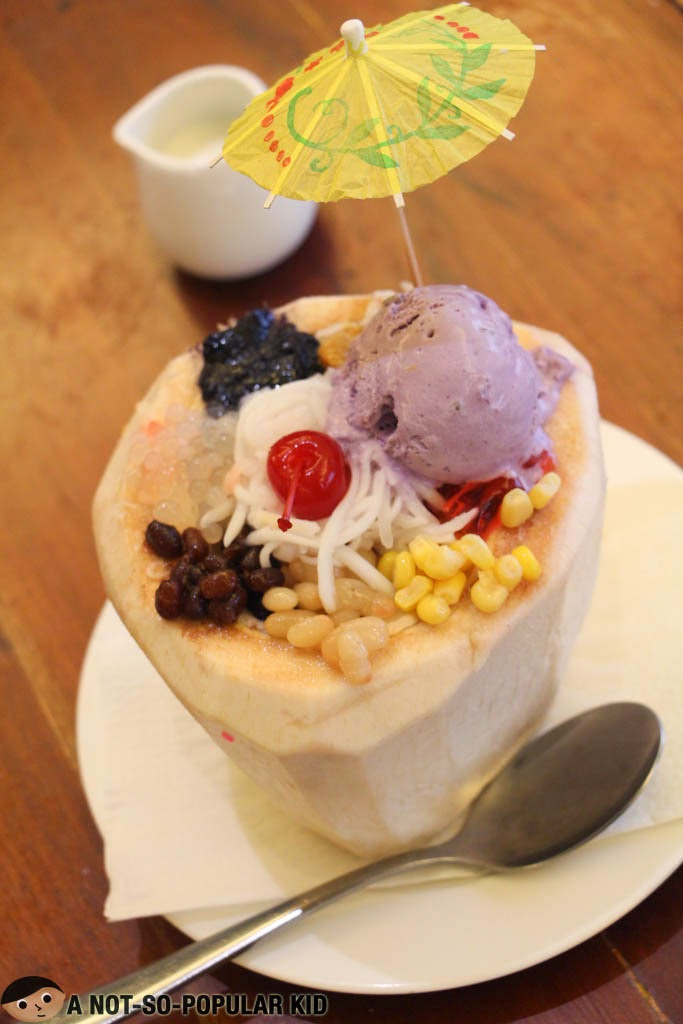 Filipino Halo-Halo inside a Coconut