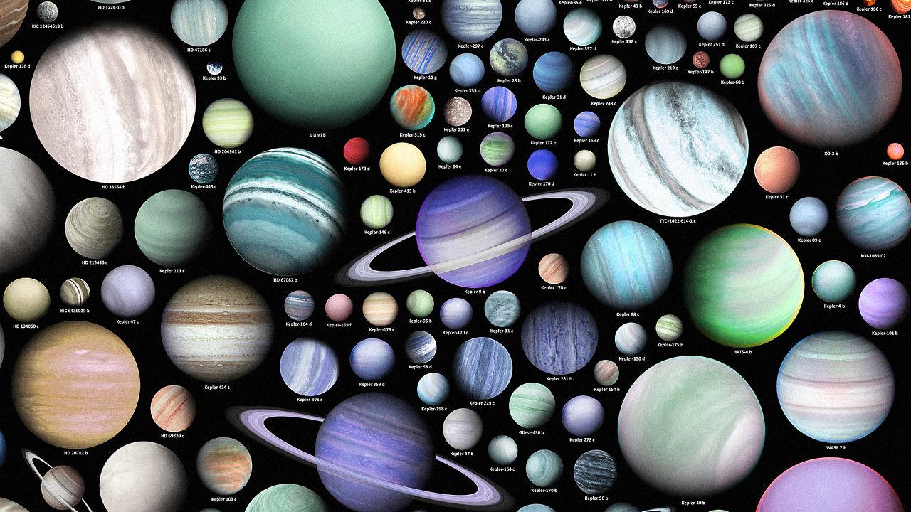 Montagem com muitos exoplanetas supostamente descobertos