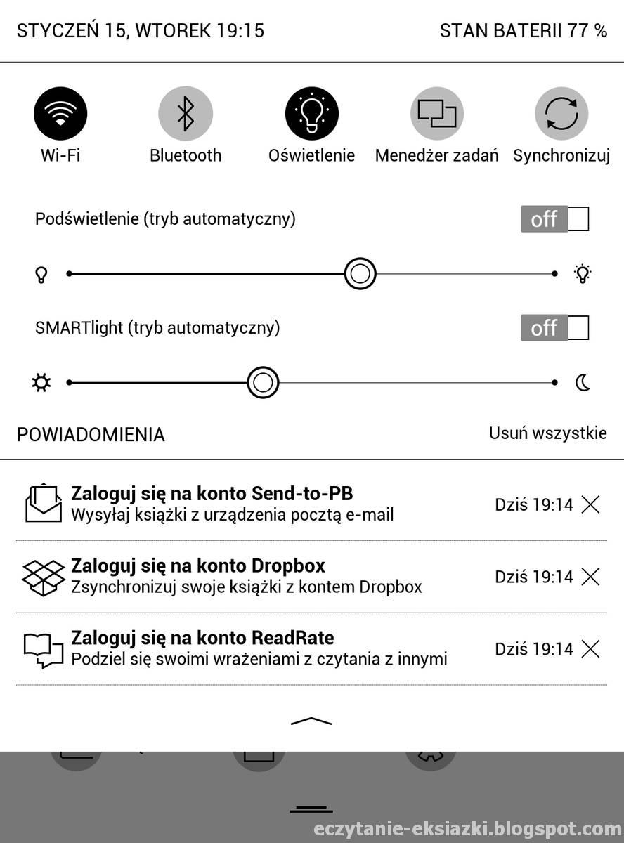 górne rozwijane menu w PocketBook Touch HD 3 - zrzut ekranu