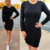 Rochie scurta de zi neagra tricotata •