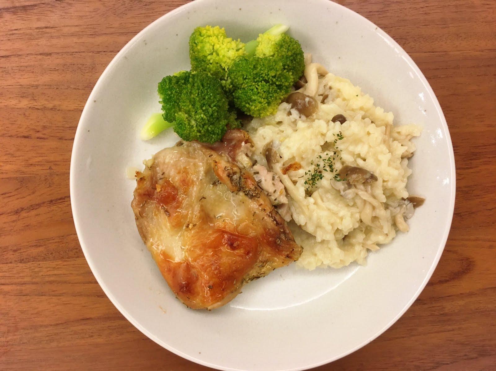 謝太太的生活小事: [謝太廚房]LC鑄鐵鍋料理。雙菇燉飯佐迷迭香烤雞腿排