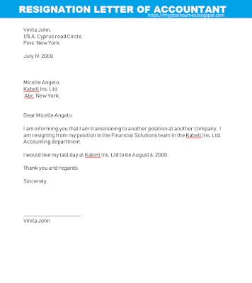 Resignation letter format for accountant