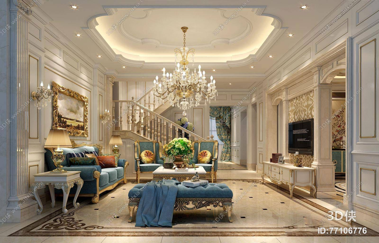 astounding 3d luxury living rooms | European French luxury living room | Library Free 3D