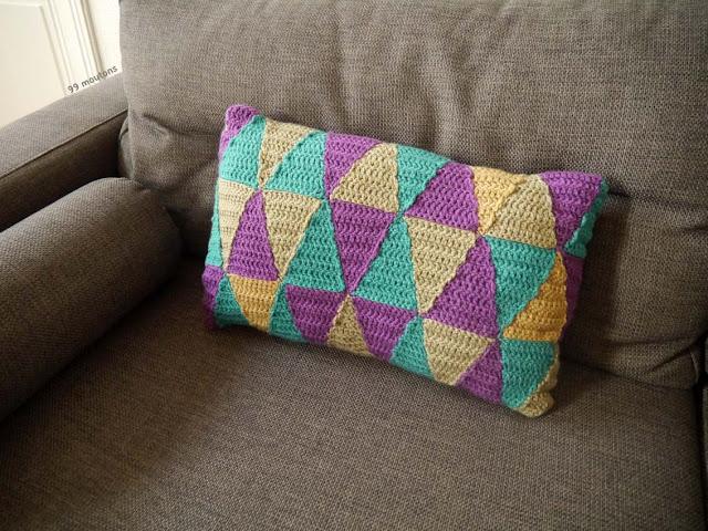 losange multicolores au crochet pour housse de coussin
