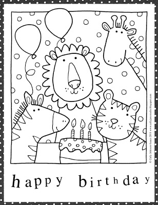 Free birthday card coloring pages ~ Coloring Page World: Happy Birthday Coloring Pages! (Portrait)