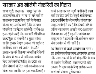 UP Group D Recruitment 2017, 14000 Bharti Latest News