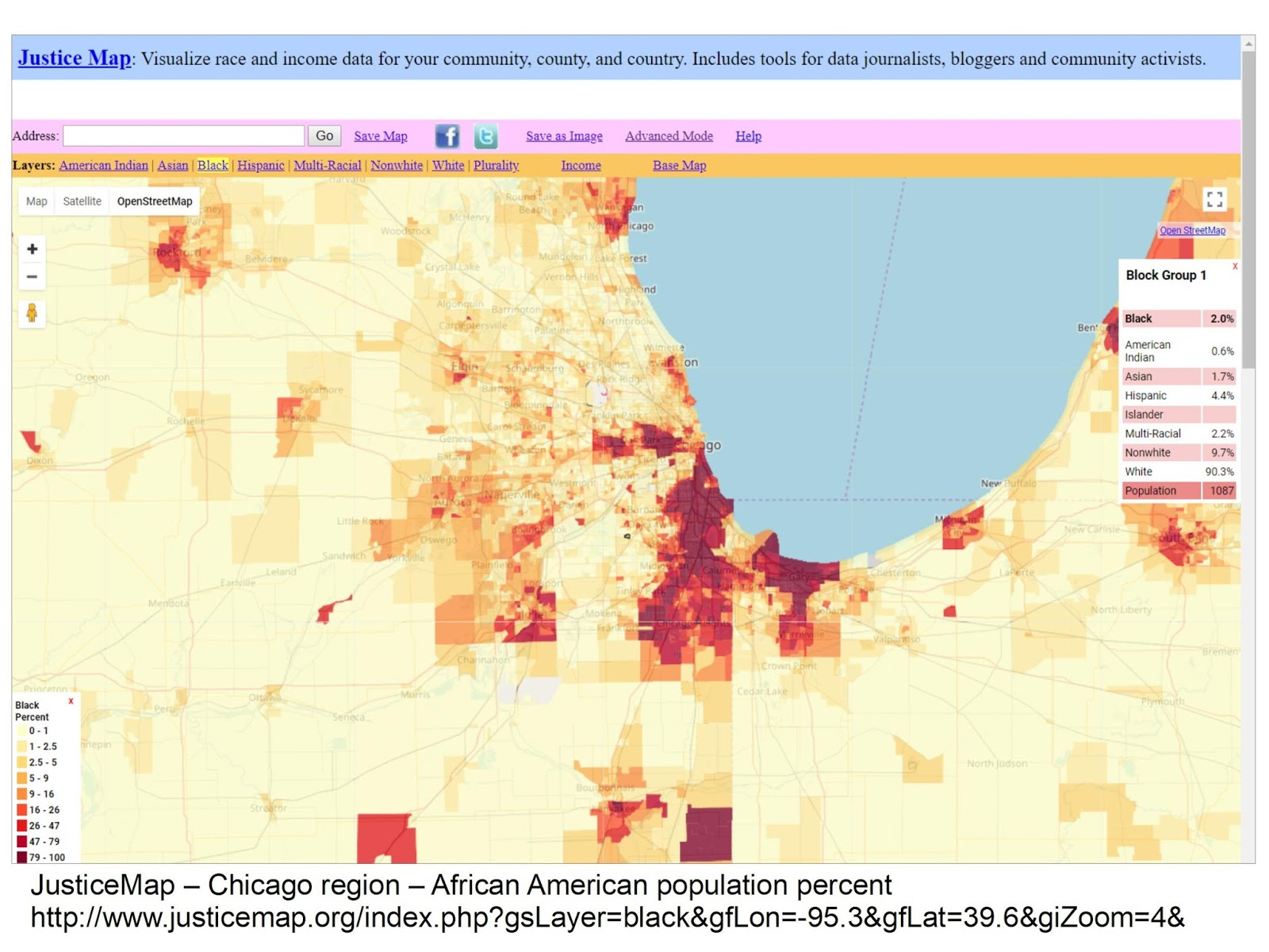 you can also zoom in to focus on different regions of the country this map shows the chicago region you can zoom in even closer and add street maps