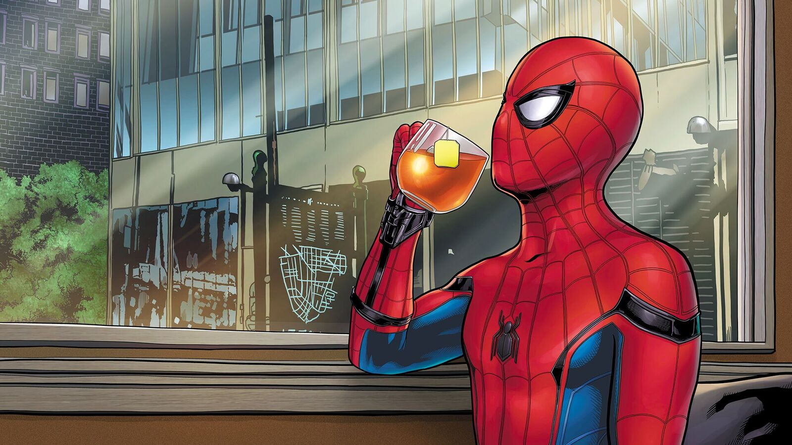 紅茶を飲むスパイダーマンのイラスト