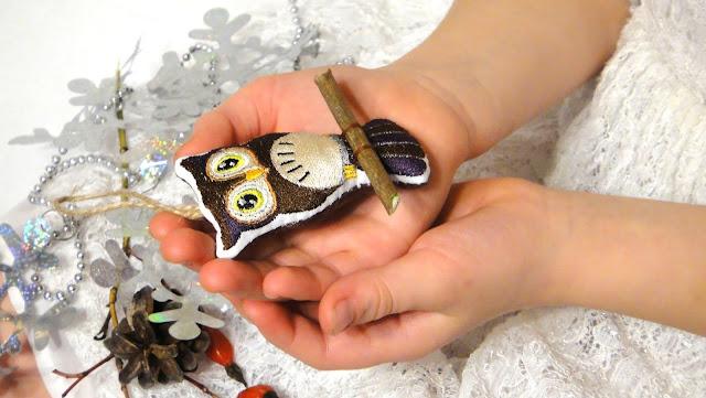 Елочные игрушки - вышитая сова, ручная работа - игрушки на елку