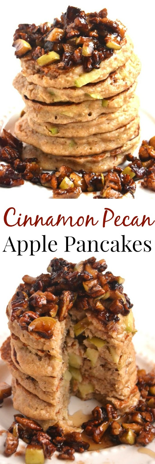 Cinnamon Pecan Topped Apple Pancakes make the perfect weekend breakfast! They are whole-grain, protein rich and are topped with the most delicious cinnamon and brown sugar sautéed apples and pecans. www.nutritionistreviews.com