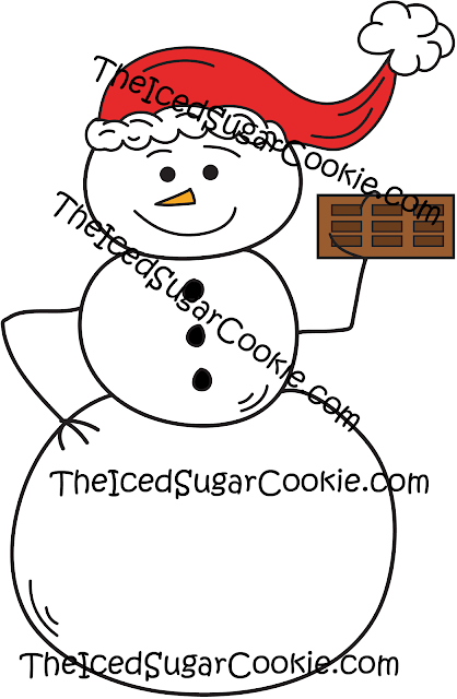 Snowman Holding Chocolate Bar Clip Art-Commercial Use
