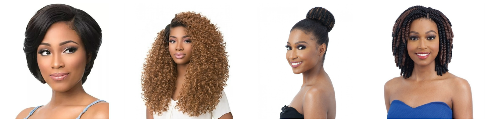 black models wearing different wigs