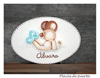 placa de puerta infantil ratón con mariposa babydelicatessen