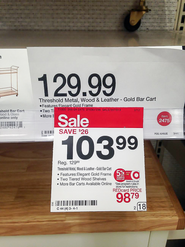 price of wood and brass bar cart from target