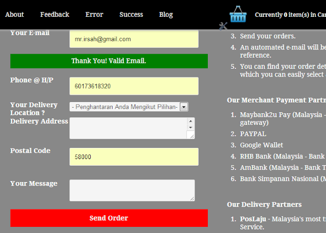 Checkout with email invoice blogspot template shopping cart
