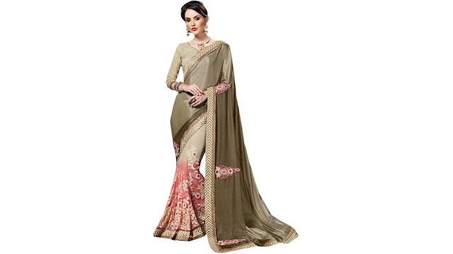 Odhni Embroidered Bollywood Net Saree  (Pink, Beige)