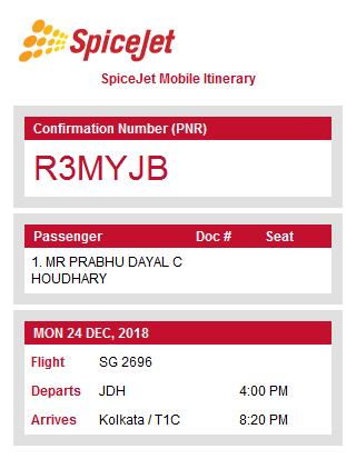 Fwd: SpiceJet Booking PNR R3MYJB: 24 Dec 2018 JDH-Delhi for