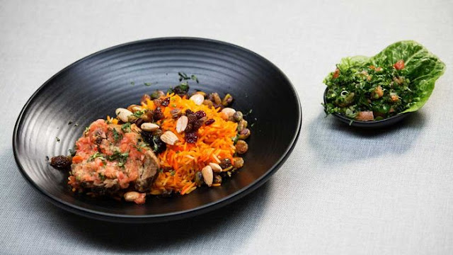 Lamb Kabsa With Tomato Salsa, Tri Colour Rice And Tabouli Recipe