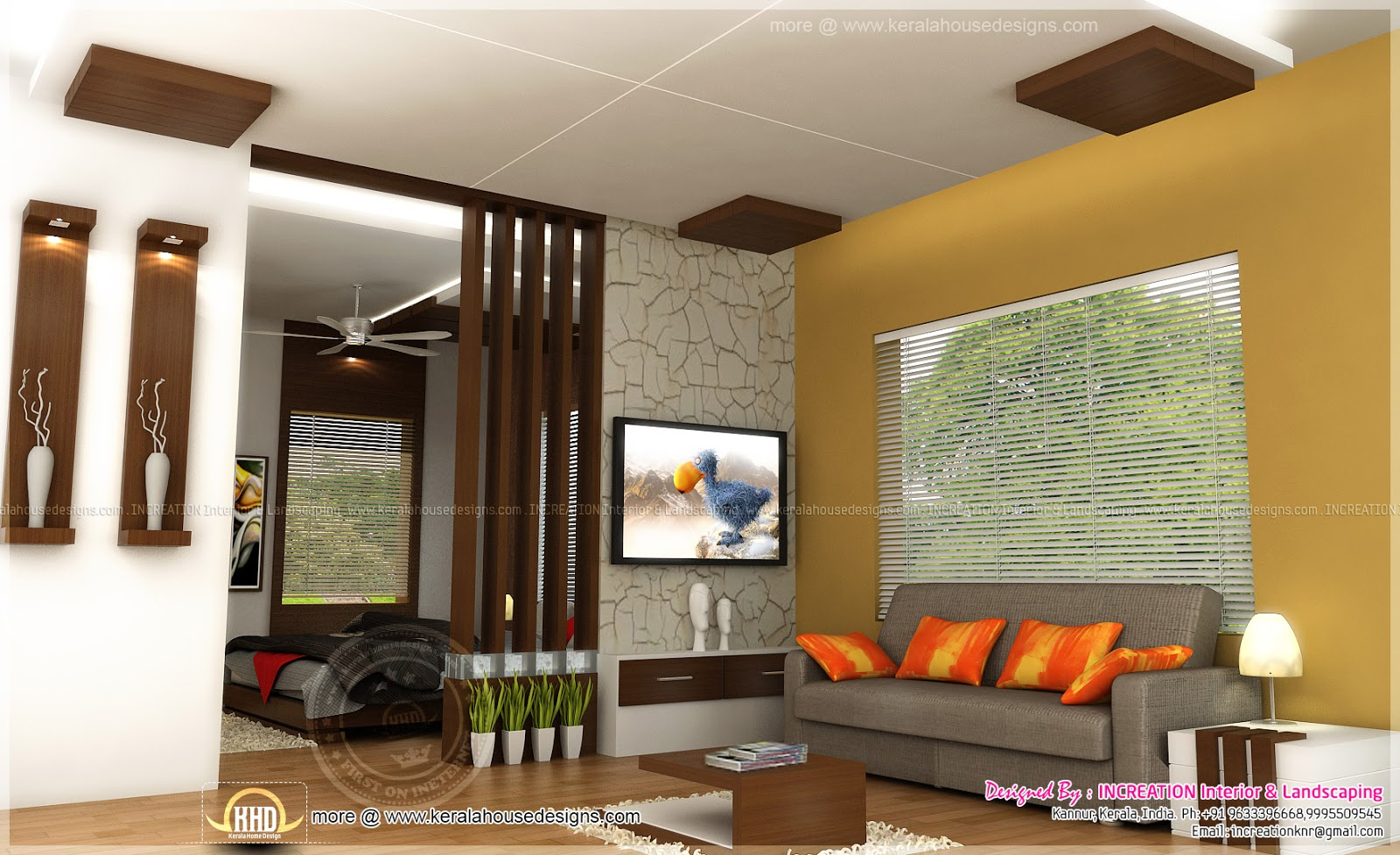 Interior designs from kannur kerala home kerala plans for Drawing room bed design