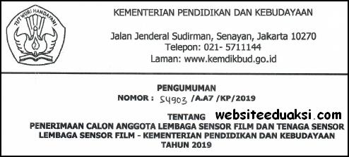 Penerimaan Lembaga Sensor Film Kemendikbud 2019