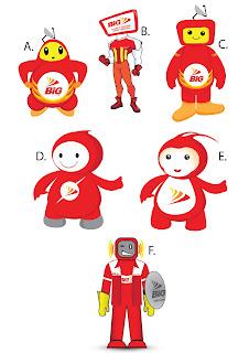 contoh design kostum logo maskot perusahaan Big TV