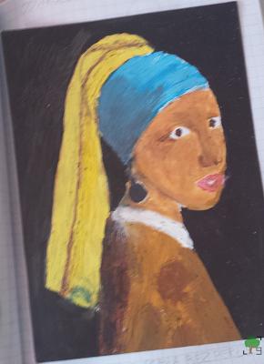 Dziewczyna z perłą bez perły, odwrócona Mona Lisa północy, rysunek, kopia Vermeera, odbicie lustrzane