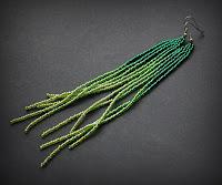 зеленые висячие длинные серьги заказать изделия из бисера ручной работы