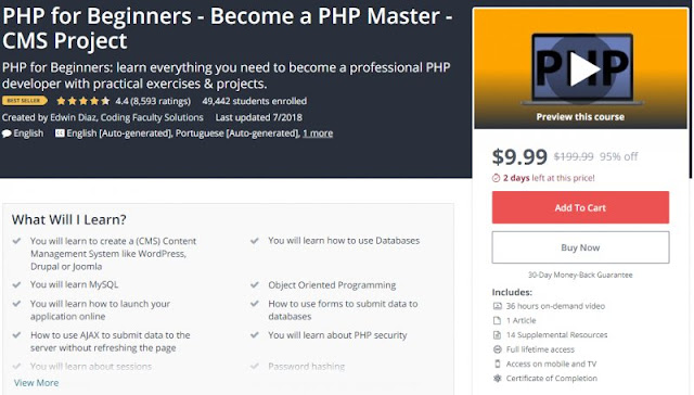[BESTSELLING][95% Off] PHP for Beginners - Become a PHP Master - CMS Project (36 Hours)