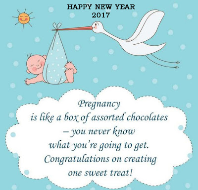 happy new year card announcing pregnancy 2017