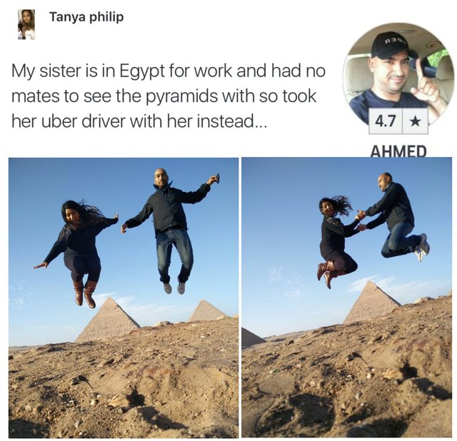 Solo traveller takes token tourist shot with UBER DRIVER at Egyptian pyramids