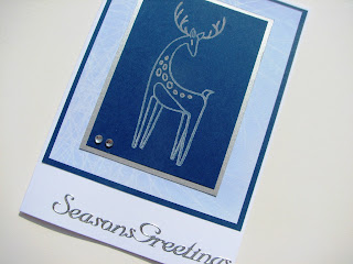 Hand made stamped reindeer Christmas card with peel off greeting