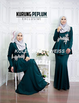 Baju Kurung Peplum Exclusive Raya 2017 warna emerald green