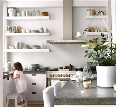 natural modern interiors: Open Kitchen Shelves Ideas