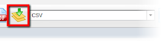 Image shows the export toolbar with CSV format selected.