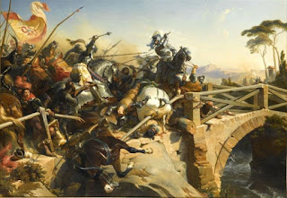 French artist Henri Philippoteaux's depiction of a scene from the 1503 Battle of Garigliano