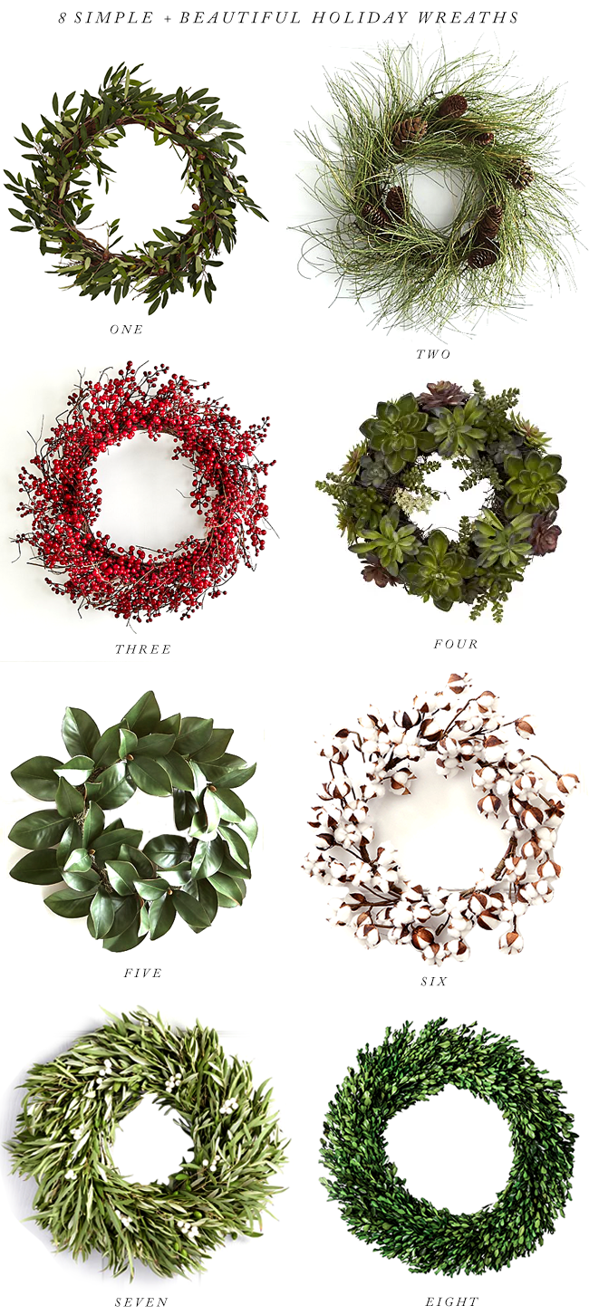 8 Simple + Elegant Holiday Wreaths