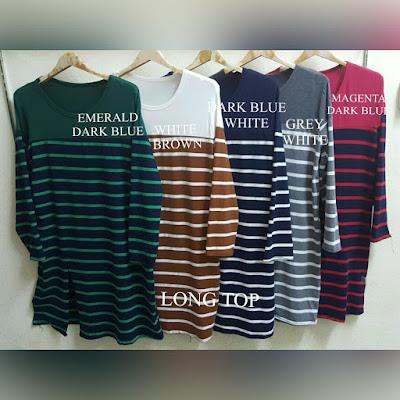 borong long top murah giler, borong long top murah, borong long top, borong blouse murah, borong stripe top,