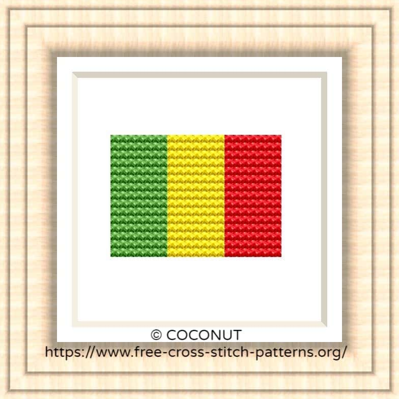 NATIONAL FLAG OF MALI CROSS STITCH CHART