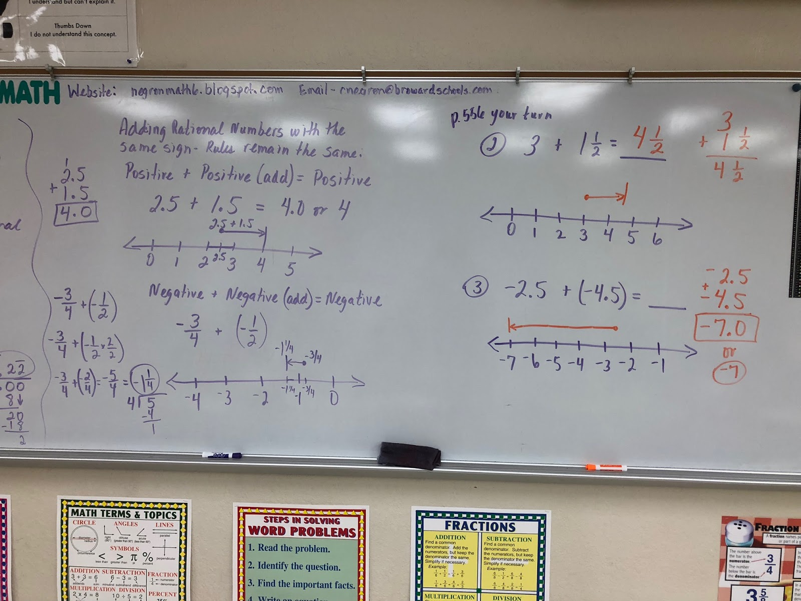 Mrs Negron 6th Grade Math Class Lesson 19 2 Adding Rational Numbers