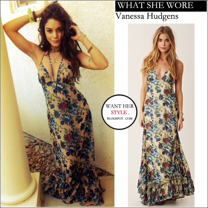65ee399b What She Wore Vanessa Hudgens In Floral Print Maxi Dress At