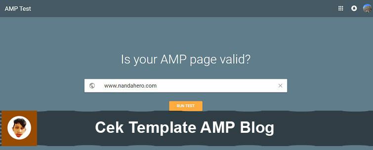 cek template amp dengan google amp tester