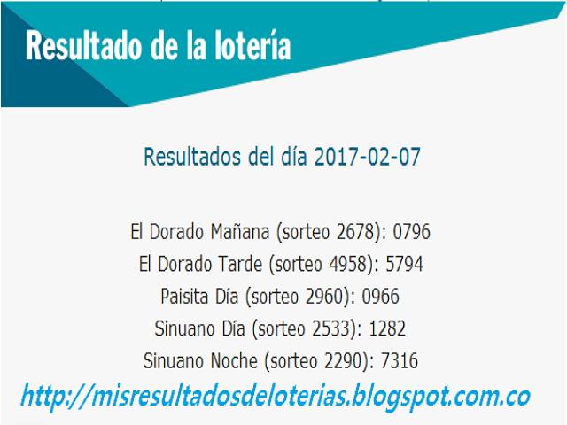 Loterias de Hoy - Resultados diarios de la Lotería y el Chance - Febrero 07 2017