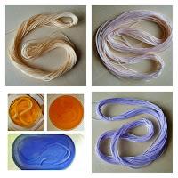 Teindre du fil de coton à froid : mes premiers tons clairs