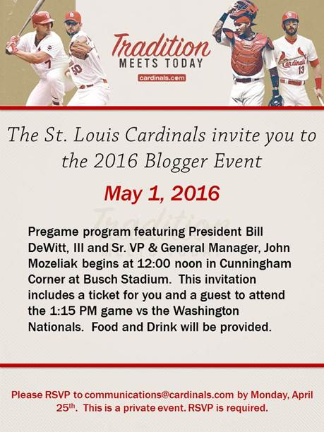 2016 St. Louis Cardinals Blogger Event