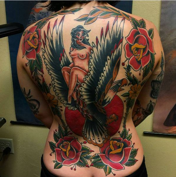 50 best full back tattoos designs and ideas 2018 for Full back tattoos women