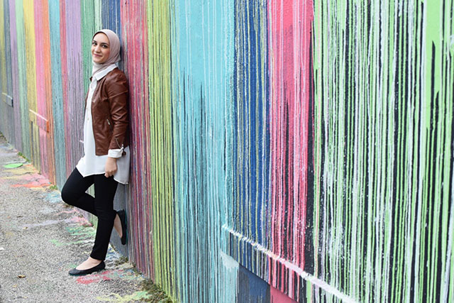 Biscuit Paint Wall-Houston Wall Art-Leather Jacket-Travel Look