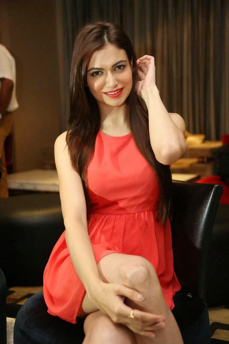 Simran Kaur Mundi Photos, Simran Kaur Mundi Long Legs hot Pics in Red short Dress & Boots
