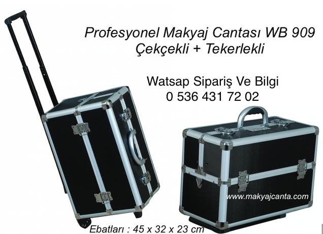 207741658dede Çekçekli Tekerlekli Bol Bölmeli Profesyonel Makyaj Çanta Ebatları 77 x 37 x  25 cm
