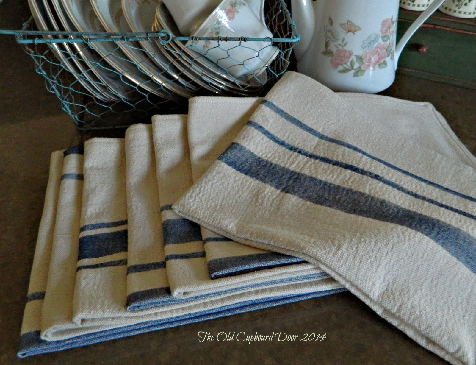 The Old Cupboard Door: Grain Sack Tea Towels