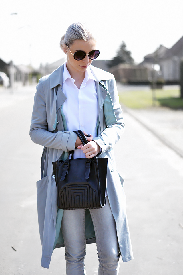 Grey trench coat, asos, mac, white shirt, primark, zara tote bag, celine inspired, round sunglasses primark